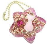 オルゴナイト 星型 アクセサリー バックチャーム ネックレス 天然石 パワーストーン (ネコ(ピンク))