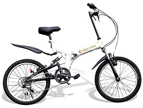 折りたたみ自転車 20インチ シマノ6段変速ギア フルサスペンション AJ-01 P-001 マウンテンバイク フロントライト/前後泥除け/ワイヤーロック錠/折り畳み自転車/MTB/小径車/PL保険 (ホワイト)