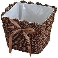 編み植木鉢 花のバスケット 乾燥花のデスクトップストレージバスケット
