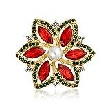 [ブリング・ジュエリー] Bling Jewelry 金メッキ ポインセチア モチーフ 人工 ルビー 人工 真珠 ブローチ [インポート]