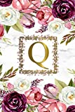 Q: Pretty Monogram Initial Q Wide Ruled Notebook for Women, Girls & School - Personalized Blank Wide Lined Journal & Diary - Watercolor Floral & Grey Marble Print