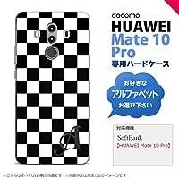 HUAWEI Mate 10 Pro(ファーウェイ メイト 10 Pro) スマホケース カバー ハードケース スクエア 黒×白 イニシャル対応 P nk-m10p-131ini-p