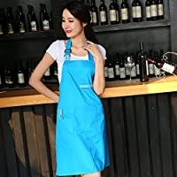 CHENGYI 韓国スタイルファッションエプロンキッチン防水コットンコーヒーショップワーク服大人のノースリーブエプロン ( 色 : 青 )