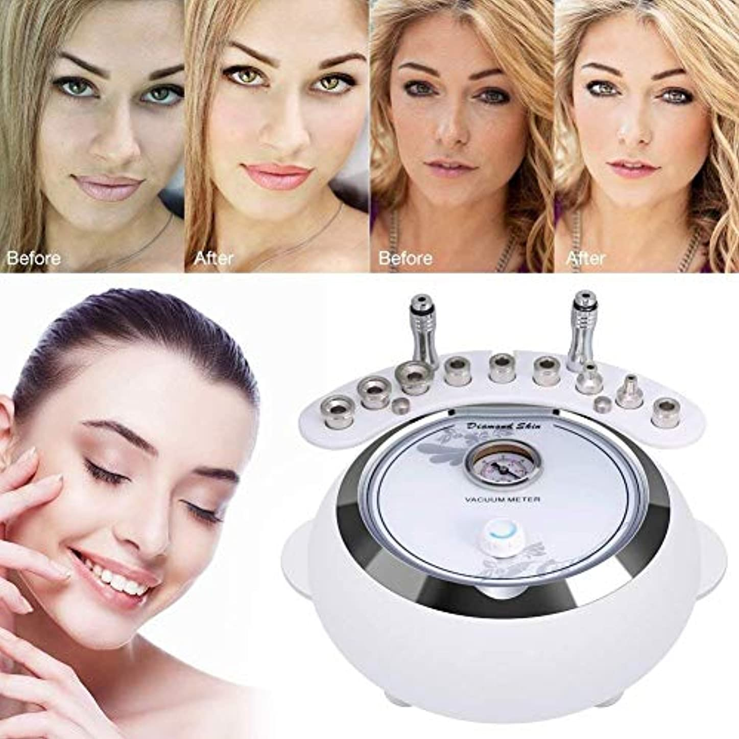 1つのダイヤモンドのマイクロダーマブレーション機械に付き3つ、顔のスキンケアの大広間装置w/掃除機をかけて強い吸引力のダイヤモンドの頭部の美装置