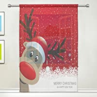 マキク(MAKIKU) シェードカーテン 遮光 ミラーレースカーテン おしゃれ レースカーテン クリスマス かわいい 鹿柄 レッド 断熱 遮熱 出窓 小窓 UVカット 薄い 目隠し 幅140cm×丈200cm 1枚