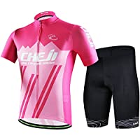 LSERVER メンズ サイクルジャージ 上下セット 半袖シャツ 3D立体パッドパンツ 自転車ウェア 吸汗 速乾 通気 男性用 サイクルウェア サイクリングウェア 春夏 ビブ選択可