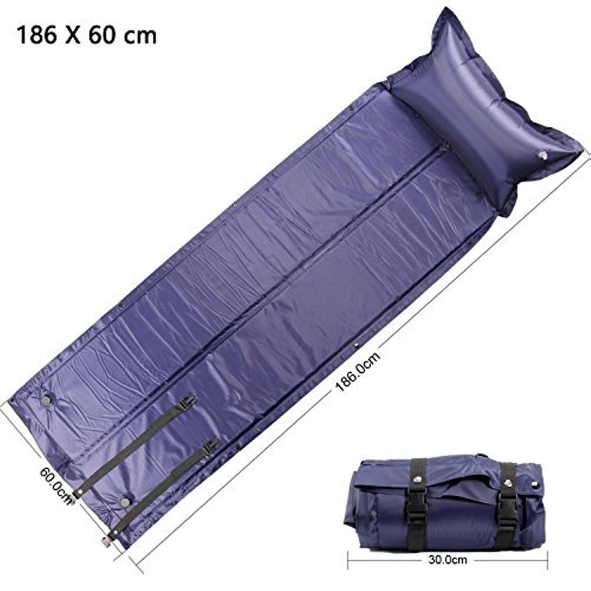 深く打倒対角線Beito 自動膨張式 エアーマット キャンピングマット キャンプマット エアピロー付き 防水 コンパクト 連結可能 収納 車中泊 高反発 2.5cm 寝具 テント 紫
