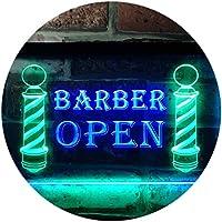 Open Barber Walk Ins Welcome Dual Color LED看板 ネオンプレート サイン 標識 緑色 + 青色 300 x 210mm st6s32-i0044-gb