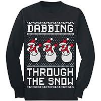 Dabbing Snowman Funny Xmas Dab Ugly Christmas Youth Kids Long Sleeve T-Shirt