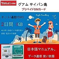 [グアム サイパン島]グアム サイパン 4G-LTE 高速データ通信使い放題 電話かけ放題 プリペイドSIMカード (4GB高速テータ)(2日間)