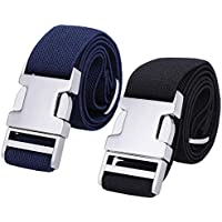 Boys Adjustable Stretch Belt for Kids - 2PCS Zinc Alloy Childrens with Easy Clasp Belt for Toddlers Boys Girls
