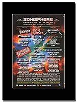 - Sonisphere Festival 2014 - Metallica - Prodigy - Iron Maiden - つや消しマウントマガジンプロモーションアートワーク、ブラックマウント Matted Mounted Magazine Promotional Artwork on a Black Mount