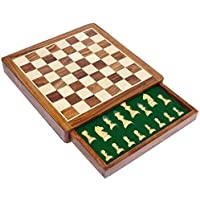 Earlyブラック、(金) Xmas Deal Sale – StonKraft木製チェスボードゲームセットwith Magnetic Pieces ( 12 x 12 non-folding with Drawer )