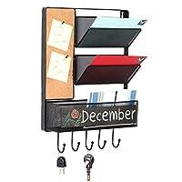 Wall Mounted Mesh Metal Hanging Mail Sorter Storage Basket w/Chalkboard Cork Board & Key Hooks Black [並行輸入品]