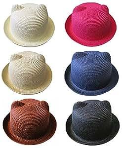 とっても かわいい 耳 つき ネコミミ キュート 麦わら 風 ハット 帽子 ベビー キッズ こども 男の子 女の子 ストローハット 紫外線 熱中症 対策 UVカット 涼しい 通園 通学 子供の日 (ピンク)