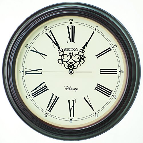SEIKO CLOCK(セイコークロック) ディズニー ミッキーマウス ミニーマウス 大人ディズニー 木枠電波掛時計 (MDF・濃茶生地塗装) FS507B