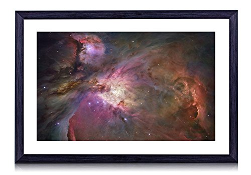 壁掛けインテリア絵画 - オリオン星雲ハッブル宇宙望遠鏡 - 黒い額縁 壁掛け モダン インテリア アート 風景画 装飾 壁飾り 部屋の装飾 ポスターー - 40cmx30cm
