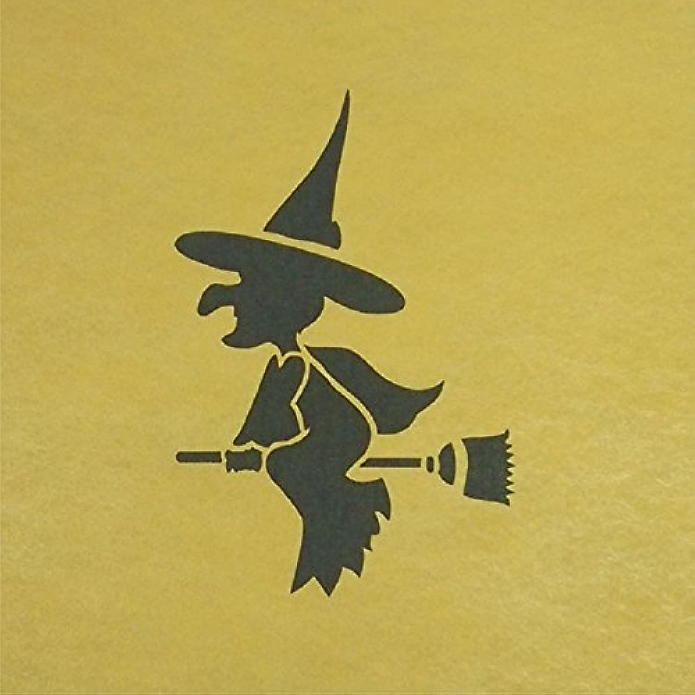 ステンシルシート 魔女 ハロウィン 3サイズ型紙  (10cm)