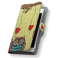 Xperia Z5 エクスペリア SO-01H ケース 手帳型 スマコレ レザー 手帳タイプ 革 フリップ ダイアリー 二つ折り 横開き 革 SO01H ケース スマホケース スマホカバー ラブリー その他 003504 Sony ソニー docomo ドコモ 鳥 ハート キャラクター so01h-003504-nb