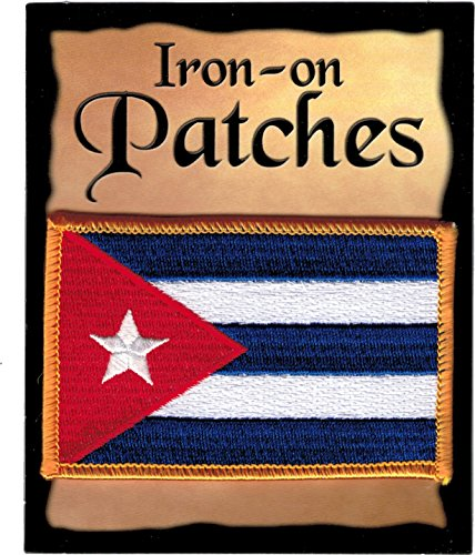 """The Flag of CUBA PATCH, Superior Quality Iron-On / Saw-On Embroidered Patch - Each one is individually carded and sealed in a professional retail package - 3.5"""" x 2.25"""" Inches - Made in the USA"""