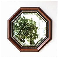 八角形ミラー 壁掛け鏡 木製 玄関 リビング 風水 イタリア製 ウッド八角ミラーB [ebn7290]
