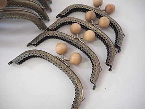 アンティーク風がま口 木玉 口金 セット手芸用品 Teshigotoya (ナチュラル 16.5cm10個)
