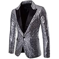 Bofo Men Emcee Shiny Sequin Peak Lapel Tuxedo Blazer Suit Formal Wedding Party Jacket