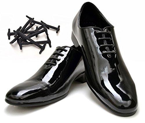 Koollaces ノータイ エラスティック スリッポン ドレスシューレース 特許取得済みシリコン靴紐 アンカータイプ  10個セット(ブラック 1.6インチ ( 40mm ) )