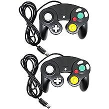 Bowink 有線 ゲームパッド コントローラ ニンテンドー Wii ゲームキューブ Gamecube Switch WiiU 専用 振動対応(黒い+黒い)
