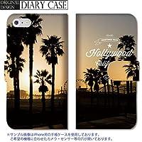 chatte noir iPhone11 手帳型ケース iPhone 11 手帳型 PUレザー ケース おしゃれ カリフォルニア ハリウッド ビーチ パームツリー B 手帳ケース