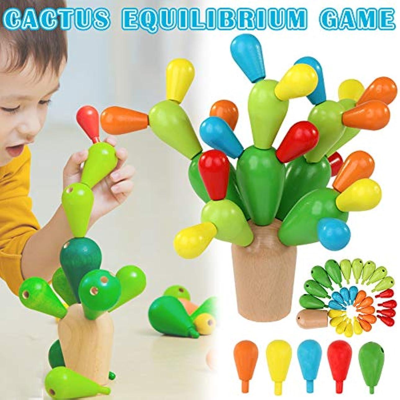 湾幸福ポンプAlligado おもちゃ サボテンバランスゲーム バランスサボテン木製おもちゃ 取り外し可能なビルディングブロック バランスサボテン バランスゲーム バランス 木製おもちゃ 教育玩具 分離可能 子供 面白い かわいい おもちゃギフト
