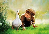 (Framed) - Diy oil painting, paint by number kit - Little boy and white duck 16 50cm .