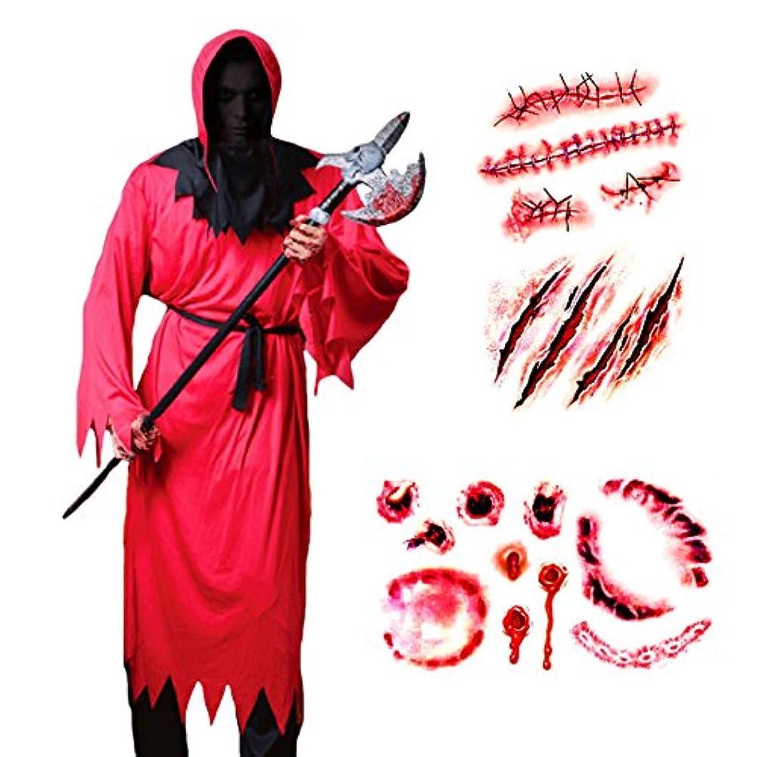 もし耐える生き物赤い 悪魔 コスプレ 衣装 レッド デビル 顔のない男 頭巾 腰紐 タトゥー シール 2枚付き 5点セット
