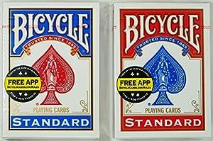 マジックに最適!トランプの王様「BICYCLE バイスクル ライダーバック808 ポーカーサイズ」人気のレッド&ブルーをセットでGET!!