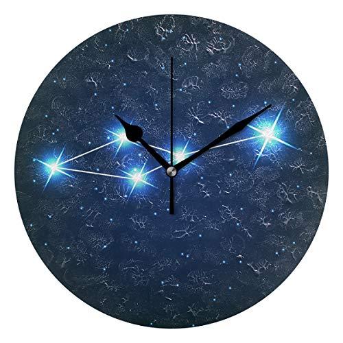 ユキオ(UKIO) 掛け時計 置き時計 壁掛け時計 室内 部屋装飾 壁時計 インテリア おしゃれ 北欧 こじし座 夜空 ギフト 時計 アート 部屋 ウォールクロック 円型 かわいい