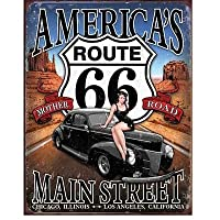 ブリキ看板 Route66 Americas Mainstreet (1957) ティンサインプレート サインボード アメリカ雑貨 アメリカン雑貨