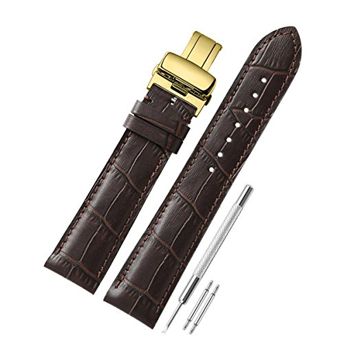 [해외]CHIMAERA 18mm 19mm 20mm 21mm 22mm 이태리 소 가죽 가죽 시계 밴드 스트랩 시계 벨트 골드 D 버클 쉽게 교환 (6 색)/CHIMAERA 18mm 19mm 20mm 21mm 22mm Italian cowhide leather genuine leather watch band strap watch belt gold D buckle Easy ...