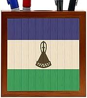 Rikki Knight Lesotho Flag on Distressed Wood Design 5-Inch Wooden Tile Pen Holder (RK-PH8735) [並行輸入品]