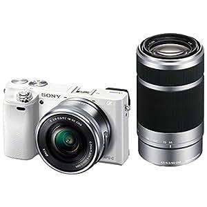 SONY ミラーレス一眼 α6000 ダブルズームレンズキット E PZ 16-50mm F3.5-5.6 OSS + E 55-210mm F4.5-6.3 OSS付属 ホワイト ILCE-6000Y-W