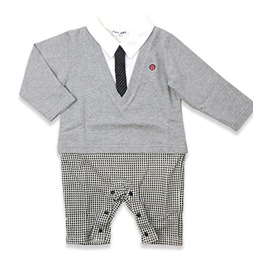 ベビー 子供服 フォーマル 男の子 カバーオール ロンパース アンサンブル風 グレー 60cm 20661506GY60
