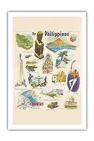 フィリピン - カンタス航空 - ビンテージな世界旅行のポスター c.1962 - プレミアム290gsmジークレーアートプリント - 61cm x 91cm