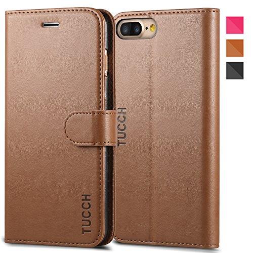 iPhone 7 Plus ケース 手帳型 TUCCH® PUレザー ケース カード収納 スタンド機能付き マグネット式 アイフォン7 Plus 5.5インチ 用 財布型 カバー ブラウン