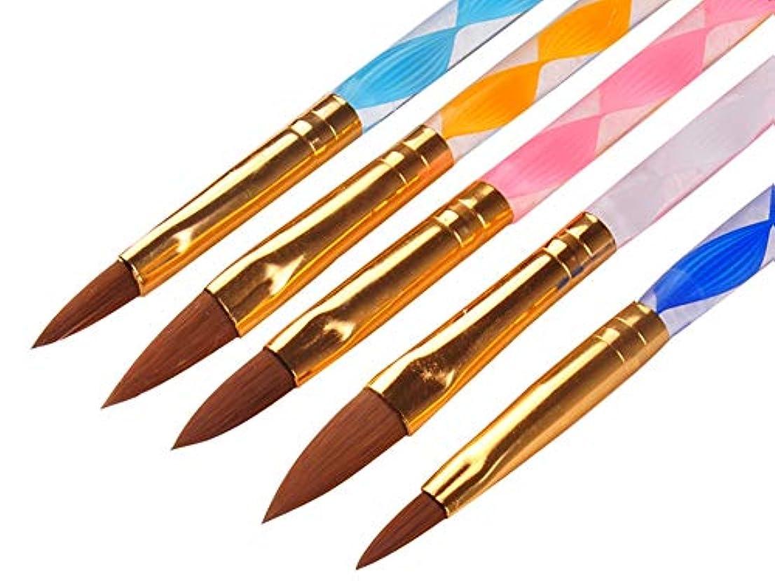 平らなラッシュブラウンRant Bell スカルプ ブラシ セットアクリル 3D ネイル オーバル筆 黄色 白 ピンク 青 紫 5本セット