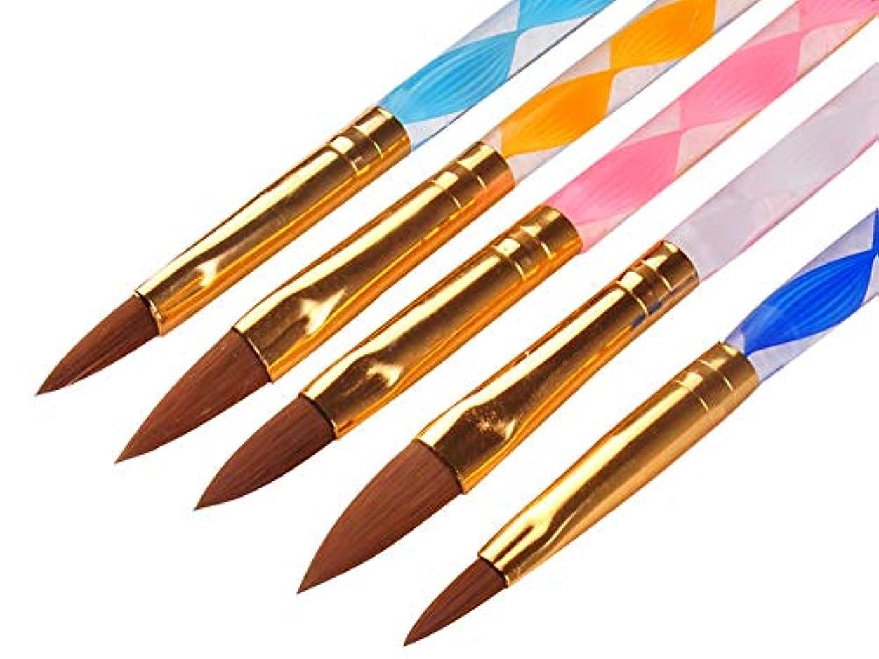 ひねくれた草蒸留Rant Bell スカルプ ブラシ セットアクリル 3D ネイル オーバル筆 黄色 白 ピンク 青 紫 5本セット