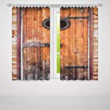 YOLIYANA 窓用カーテン 素朴 リビングルーム 寝室用 天然素材 木製窓 赤レンガ 田舎風 イディリック 59W X 65L Inches Z-02_03_115995