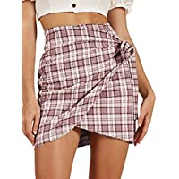 Haola Women's Summer Casual High Waist Plaid Mini Bodycon Skirt