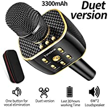 Karaoke Microphone Wireless, Dual Sing Duet Version 3300mAh Handhold Karaoke Mic Portable Wireless Microphone ,Dual Speakers Kids' Karaoke Machines for Outdoor Home Party KTV Playing Singing Music, Gift for Fun