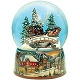 MusicBox Kingdom 48040 Sleigh Ride Snow Globe Music Box Swirls Automatically to The Melody