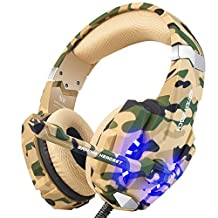 BENGOO Stereo Gaming Headset for PS4, PC, Xbox One Controller, Noise Cancelling Over Ear Headphones Mic, LED Light, Bass Surround, Soft Memory Earmuffs for Laptop Mac Nintendo Switch -Camouflage