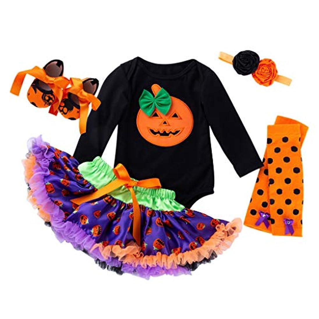渦ポップ記事ハロウィン 赤ちゃん ワンピース Huliyun 女の子 ロンパース かわいい キッズ 仮装 子供用2ピース長袖ローブ+チュチュスカート ハロウィン 衣装 子供 女の子 パンプキン かぼちゃ 仮装